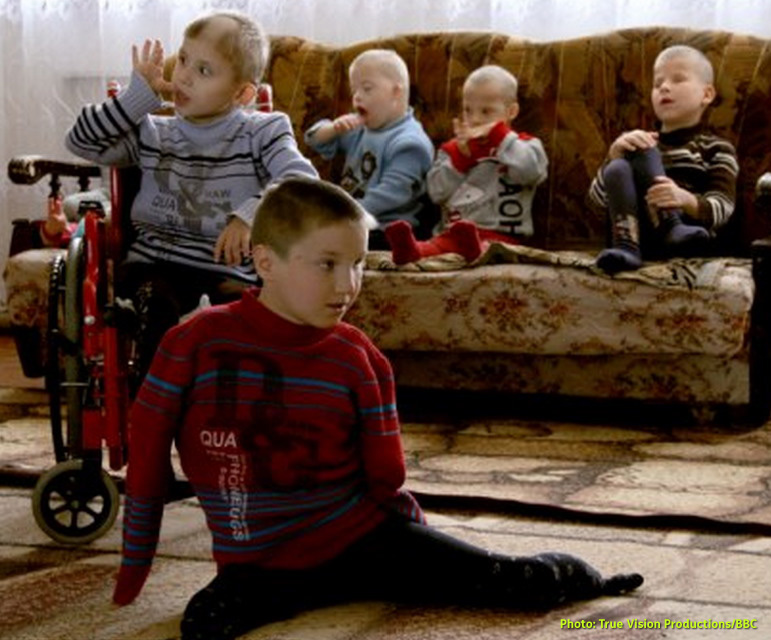 AbledRights photo shows a video still of 'social orphans' - disabled children abandoned by their parents, from the documentary 'Ukraine's Forgotten Children' which aired on the BBC.