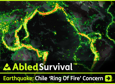 AbledSurvival Post link box shows a dark map overview of the continents flanking the Pacific Ocean with the so-called 'Ring of Fire' of earthquakes, fault lines and volcanoes represented by a range of green to orange/red glowing data points. It shows a string of glowing dots from New Zealand, up the eastern coast of Asia, across the Bering Strait between Russia and Alaska and down the west coast of the Americas. The headline reads: AbledSurvival: Earthquake: Chile 'Ring Of Fire' Concern. Click here to go to the post.