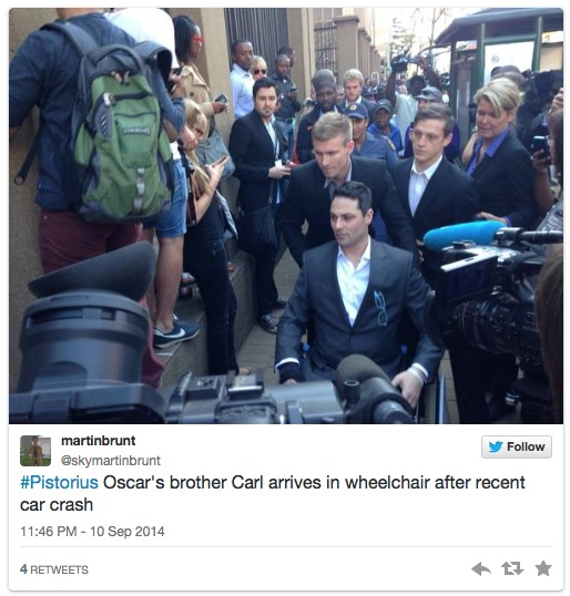 AbledNews photo shows a retweet of a photo from SkyNews of Carl Pistorius arriving at the court in a wheelchair and with his legs in braces following injuries suffered in a high speed car crash.