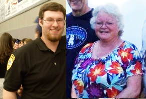 Split-screen Photo shows Julia Farnes on the right wearing a floral blouse. She has white hair, is wearing glasses and is smiling. Her son Adam is on the left of the photo. He has brown hair, some beard growth on his chin, is wearing glasses and is smiling.