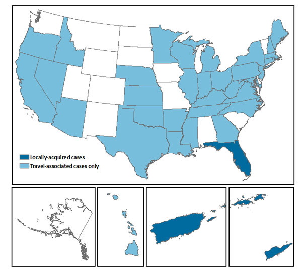 Centers for Disease Control map shows the distribution of Chikungunya cases throughout the United States, including separate maps for Alaska, Hawaii, Puerto Rico and the U.S. Virgin Islands. The next table will detail the number of U.S. cases.